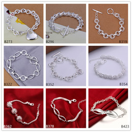 Wholesale Wholesale Sterling Silver Wave Ring - 8 pieces a lot mixed style fashion burst models women's sterling silver Bracelet,ladder Torsional Wave Frosted ring 925 silver Bracelet EMB9
