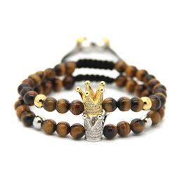 Wholesale Gold Tiger Jewelry - Wholesale High Grade Jewelry 6mm A Grade Natural Tiger Eye Stone Beads Gold and Platinum Crown European Braided Bracelet