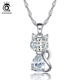 Wholesale Kitty Link - Cute Kitty Pendant Necklace 1.8 CT Austrian Zircon Crystal 925 Sterling Silver Necklace for Women ON77