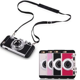 Wholesale South Korean Phone Cases - South Korean Amigo Camera Phone Cases Cover Silicone Anti-knock Cell Phone Case For iPhone 5 6 6s 7 plus Shoulder Strap Bag