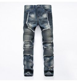 Wholesale French Jeans - Fashion Brand Men biker eans Men Jeans High Quality French esigner Men's Jeans Big Size tide pants