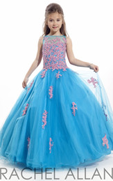 Wholesale turquoise organza prom dress - Turquoise RACHEL ALLAN Girl's Pageant Dresses patchwork lace organza ball gown flower girl dresses for weddings party prom gowns HY897