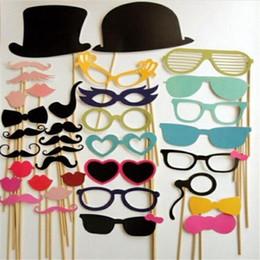 accesorios para bigotes Rebajas 2017 Nuevo 58 unids / lote DIY Photo Booth Props Bigote Sombrero de Labio Antler Regalo Palillo Fiesta de Navidad Decoración de La Boda