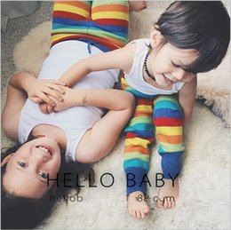 Wholesale Rainbow Leggings Tight - NEW BABY fashion Rainbow Wool pants 2016 Autumn winter children baby Rainbow pants