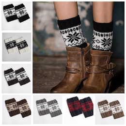 Wholesale Flowers Trimmings - Stretch wool Boot Cuffs knitting socks Women Flower Leg Warmers trim Toppers Socks Leg Warmers Winter Socks KKA3269