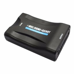 Wholesale Mhl Hdmi Adapter - MHL HDMI to SCART   SCART To HDMI MHL Audio Video Converter Adapter AV For HDTV DVD Wholesale