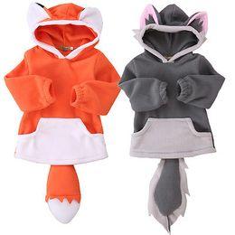 Wholesale Orange Fleece Jacket Wholesale - Autumn Winter 2016 Baby Kids Polar Fleece Animal Fox Wolf Cute Cartoon Hoodie Hooded Hoody Coat Jacket 0-4Y