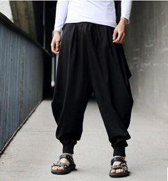 Argentina Pantalones de hombre Pantalones de Samurai estilo japonés Boho Casual Low Drop Entrepierna Harem Baggy Hakama Capri recortada Pantalones de lino supplier loose fit harem trousers Suministro