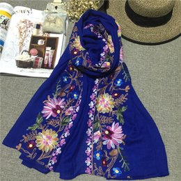 Wholesale Scarf Purpose - 2016 Korean Embroidery Cotton Hemp Flowers A Surname Cotton Scarf Nation Wind Shawl Dual Purpose Woman Spring And Autumn Winter Silk Scarf L