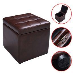 Wholesale Storage Lounge - Storage Box Lounge Seat Footstools with Hinge Top Brown