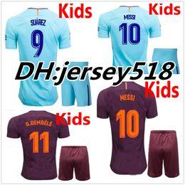 Wholesale Boys Xl - 17 18 kids MESSI NEYMAR JR INIESTA PIQUE SUAREZ soccer jerseys kits 2017 2018 O.DEMBELE Children football shirts