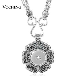 Wholesale Necklace Flowers - VOCHENG NOOSA Necklace Snap Jewelry Vintage Flower 18mm Alloy Charms Double Chain Pendant NN-499