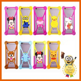 Wholesale Cell Phone Clip Holsters - Universal Cute Cartoon Silicone Cell Phone Holster Cases Fundas For iphone 5 5s se 6 6s plus Samung LG MOTO