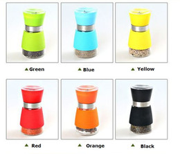 Wholesale Ceramic Salt Cellar - Pepper Salt Grinder Glass Cruet Mill Spice Jar Ceramic Core Manual Glass Pepper Salt Spice Grinder Mill Hand Pepper Herb Mill High quality