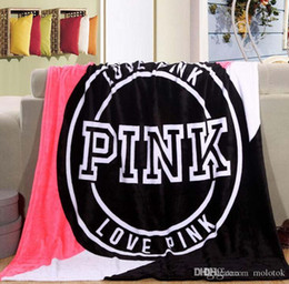 Wholesale Pink Plaid Bedding - Newest Fashion Women Pink Love Letter Blanket Manta Fleece Blanket Throws On Sofa Bed Plane Travel Plaids Hot Limited Battaniye 130cmx160cm