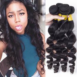 Wholesale Eurasian Natural Wave - Grade 7A Brazilian Loose Wave Human Hair Extension Peruvian Indian Malaysian Mongolian Eurasian Hair Wefts 4 Bundles Loose Curly Hair Weave