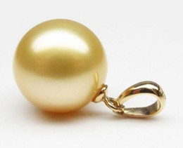 Wholesale 16mm South Sea Pearl Pendant - 16mm South Sea Natural Golden Shell Pearl Pendant Necklace 14K Gold Clasp