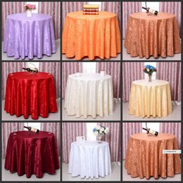 Wholesale White Polyester Tablecloths Round - Elegant rose flower pattern round table cloths wedding tablecloths for Banquet Wedding Party Decoration White red gold silver color