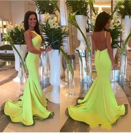 Wholesale Fluorescent Shorts Women - Mermaid Sexy evening dresses Fluorescent green Special Occasion dresses of women Floor to length Spaghetti party dress Z23