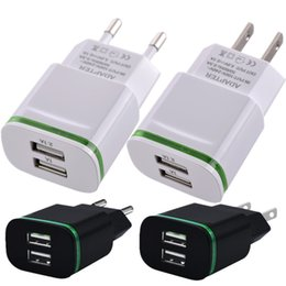 Wholesale Led Plug Lights - AAA Quality EU & US plug 2.1A Ac home wall charger Led light Dual usb ports power adapter for iphone 6 7 8 Samsung s6 s7 edge android phone