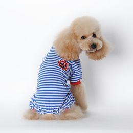 Wholesale Large Jumpsuit - Pet Cartoon Dog Striped Cotton Pajamas Small Cachorro Cat Jumpsuit Coat Shirt Clothes
