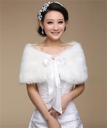 Wholesale White Fur Bridal - Cheap Faux Fur Wedding Wraps Shrug Bridal Gowns Warm Shawls Stole Cape 2017 Stock Bolero For Ladies Formal Wear Ribbon Tie Bow Free Shipping
