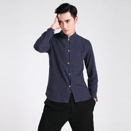 Традиционная китайская одежда онлайн-Бесплатная доставка с длинным рукавом Тан костюм китайский традиционная одежда Кунг - Фу рубашка мандарин воротник китайская рубашка белье китайский топ