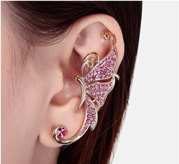 Wholesale Hot Fashion Cuff - 2017 Hot Full of Diamond Butterfly Earrings Fashion jewelry Cuff No pierced Ear Clip Hanging Earring Charms Gift for Women