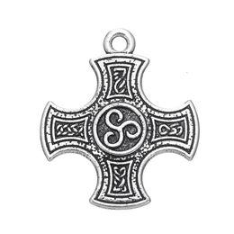 Wholesale Tibetan Silver Knot Charm Pendant - Tibetan Silver Tone Alloy Metal Knot Cross of Harmony Pendant Charms Talisman Jewelry Wholesale 2pcs lot