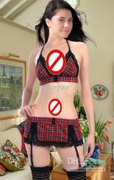 Wholesale Sexy Lingerie School Uniform - Hot Wonen's Sexy Bralette Sets Red Plaids with Garter Belt G-srting Thong Strap Halter Bra set Skirt Cami set Lingerie School Student A9009