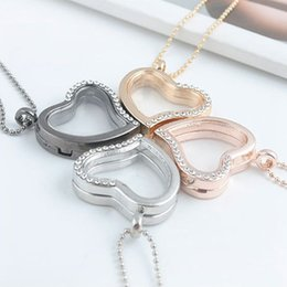 Wholesale Heart Locket Necklace Sale - Hot Sale Mix 4 Color 28mm Heart Magnetic Floating Locket Glass Living Memory Locket With Rhinestone(chains included for free)