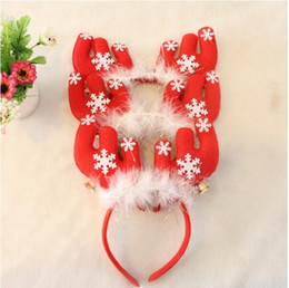 Wholesale Wholesale Antler Headbands - Christmas Hair Accessories Antlers Headband with Bells Christmas Decorations Party Head Hair Hoop Headwear Christmas Gifts