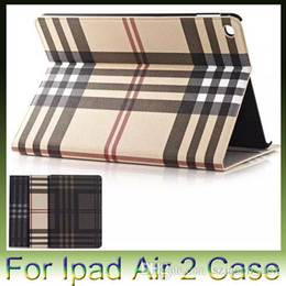 Wholesale Mini Card Stand - Luxury Grid pattern Stand Flip Leather card holder slot Case for Apple iPad 6 Air2 air 2 mini 4 mini4 1pcs free shipping
