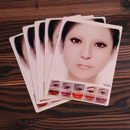 Wholesale Makeup For Eyebrows - Wholesale - 4 Newest Design Colorful Tattoo Practice Skin Beautiful Face Makeup Skin 5pcs Lot for Beginners MUA732