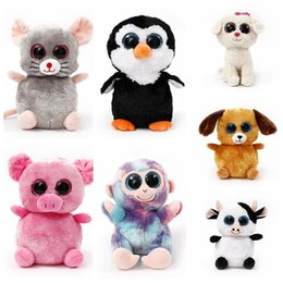 Wholesale Ty Toy Dogs - TY Plush Dolls 22cm Ty Beanie Boos Cat Dog Rabbit Animal Big Eye Stuffed Plush Toys Pre Sell 120pcs LJJO3676