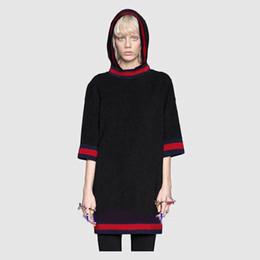 Hoodie a maglia nera online-Trasporto libero 2017 bianco / nero mezze maniche maglieria con cappuccio da donna Brans Stesso stile lungo Pullover DH077