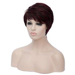 Wholesale Red Blonde Hairstyles - Synthetic Short Cut Curly Hairstyles Natural Afro Hair Wigs For Black Women Burgundy Black Brown Red Blonde Ombre