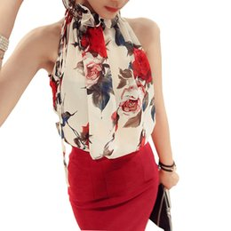 Wholesale Halter White Chiffon - 2016 Summer New Style Fashion Women Sleeveless Chiffon Shirts Floral Print Blouse Ruffles Turtleneck Tops Shirt Plus Size