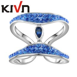 Wholesale Bridal Jewelry Set Blue - KIVN Womens Fashion Jewelry Blue Crystals Bridal Wedding Engagement Rings Promotion Girls Mothers Day Birthday Christmas Gifts