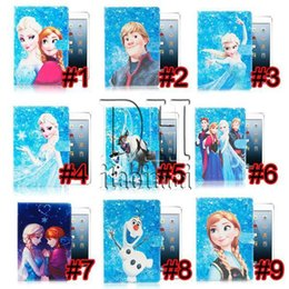 Wholesale Cartoon Smart Cover - Cartoon Elsa Anna Olaf Sven Elsa Anna Smart Leather Case Cover With Stand For iPad 2 4 5 6 Pro Air 9.7''