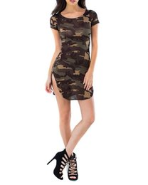 Wholesale Ladies Camouflage Shorts - Summer Camouflage Bodycon Printed Short Sleeve Long Tops Sexy Ladies Causal Mini Dress Plus Size Vestidos