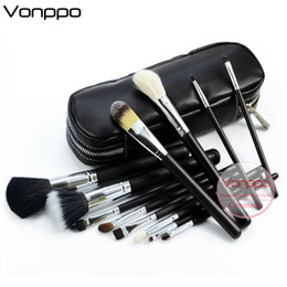 Wholesale oem set - Brand 12 Pcs Makeup Brushes Tools Set Goat Hair Horse Hair Silver Tube Black Handle with Zipper Leather Bag Oem Label