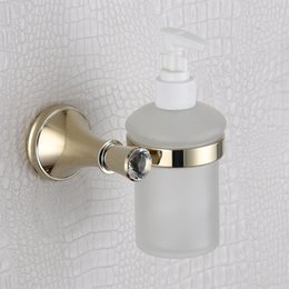 Wholesale Hands Free Liquid Soap Dispenser - Soap Dispenser Bathroom Accessories with Wall Mounted, Golden Liquid Soap Dispenser and Holder for Free Shipping