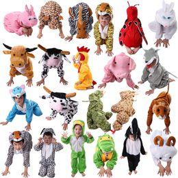 kids tiger clothing NZ - Cartoon Children Kids Animal Costume Cosplay Clothing Dinosaur Tiger Elephant Halloween Animals Costumes Jumpsuit for Boy Girl