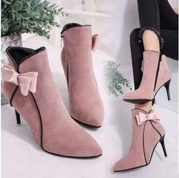 Wholesale Cute Stiletto Shoes - Sweety American Style Solid Pointed Toes High Heels 8.5CM Shoes Cute Knotbow Lady's Dress Shoes Pink Khaki Black Heels