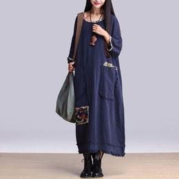 Wholesale Loose Dress Styles - Maxi Dress 2016 Women Fashion Summer Style Cotton Linen Maxi Dress Vestidos Loose Oversized Robe Vintage Causal Dresses