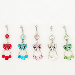 Wholesale fox mix - D0526 ( 5 colors ) MIX colors styl belly ring style newly fox style Rings Body Piercing Jewelry Dangle Accessories Fashion Charm 10PCS