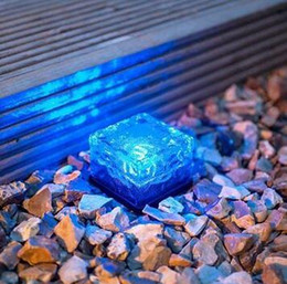 Wholesale Bricks Solar Lighting - Wholesale- LumiParty Fashion Solar Path Ice Cube Rocks LED Frosted Glass Brick Paver Garden In-groud Buried Light Path Road Waterproof