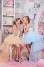 Wholesale Strapless Kids Wedding Dresses - 2016 Beautiful Light Sky Blue Flower Girls Dresses for Weddings Vintage High Low Pageant Gowns Birthday Communion Toddler Kids TuTu Dress