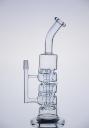 "Wholesale Free Stack - 11"" Glass Sundae stack recycler glass oil rigs glass bongs water pipes with 14.5mm male joint"